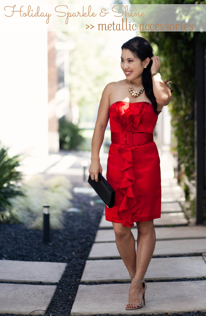 cute & little blog | red holiday party dress, metallic gold bauble jewelry outfit #ootd #cbias #shop #ThisIsStyle