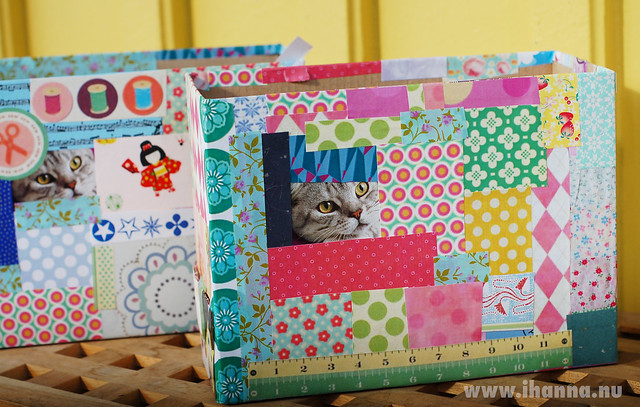 Two fun paper collage boxes