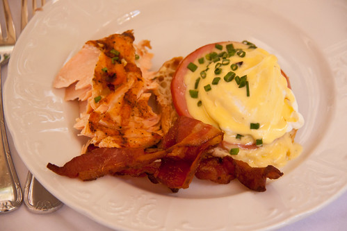 Eggs Benedict, Grilled Salmon, and Bacon at the Biltmore Brunch - Coral Gables, FL