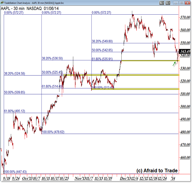 Apple AAPL Fibonacci Confluence Reference Level Intraday Trading Chart