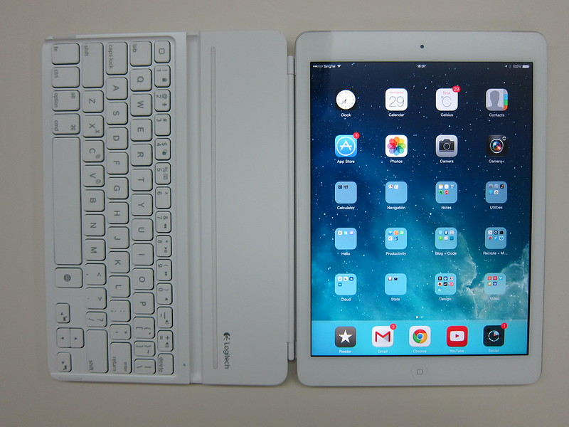 Ultrathin Keyboard Cover - Attached To iPad Air (Front)