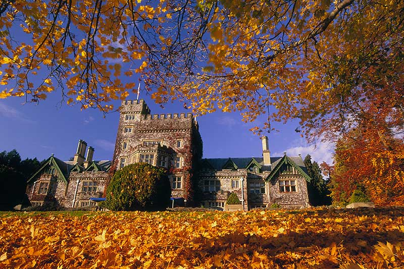 Hatley Castle at Royal Roads University in Colwood, Greater Victoria, Vancouver Island, British Columbia, Canada