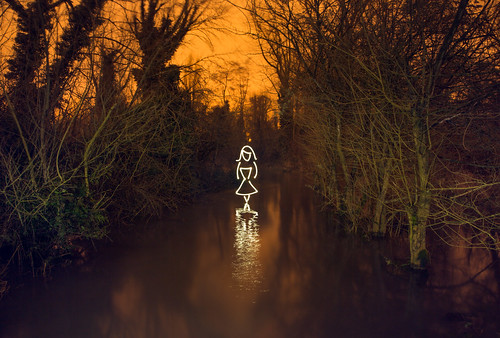 Deep Dark Wood (Girl In Flooded Forest All In Camera Light Painting), Rickmansworth by flatworldsedge