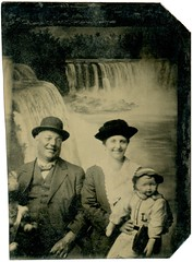 Man and Woman with Doll at Niagara Falls (Mirror Image)