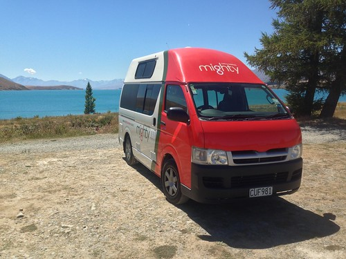 Our Mighty Campervan in front of Lake Tekapo