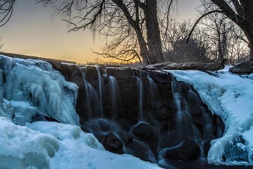 longexposure winter sunset snow ice water wisconsin franklin waterfall unitedstates whitnallpark