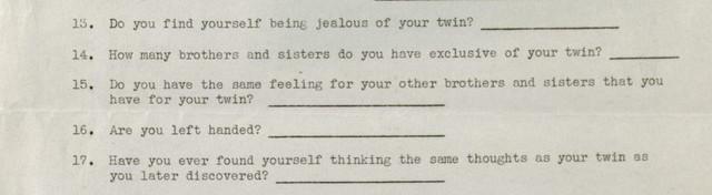Dr. Gardner's multiple births survey