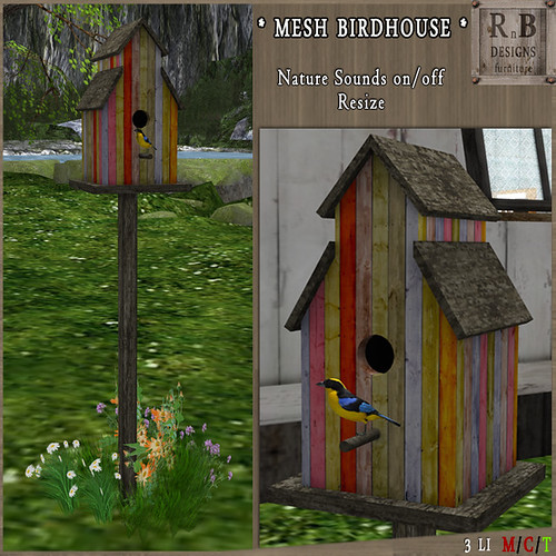 PROMO 60L ! *RnB* Mesh Birdhouse v2 - Spring (sounds on-off)