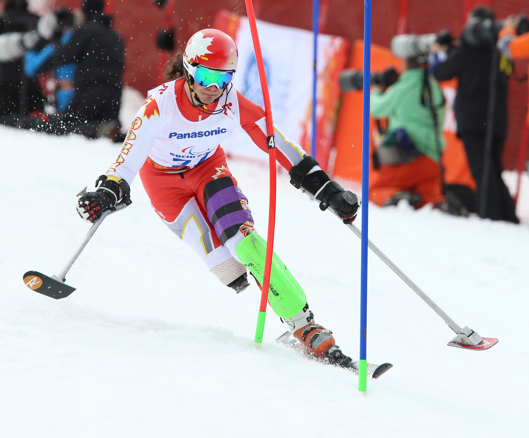 Braydon Luscombe in action in the slalom at the 2014 Paralympic Winter Games