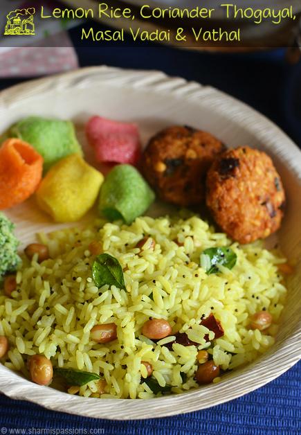 Lemon Rice,Coriander Thogayal,Masal Vadai & Vadam