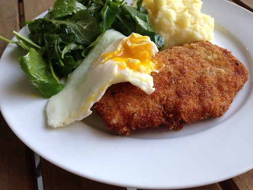 I also love anything topped with a fried egg Crispy Chicken with Egg and Arugula