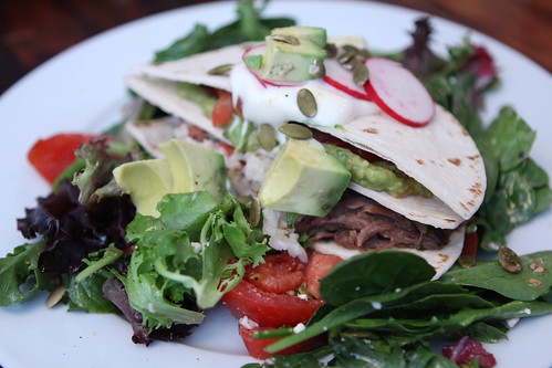 Leftover Short Rib Tortilla Stack with Avocado, Radish, and Tomato Salad