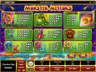 Monster Meteors Slots Payout