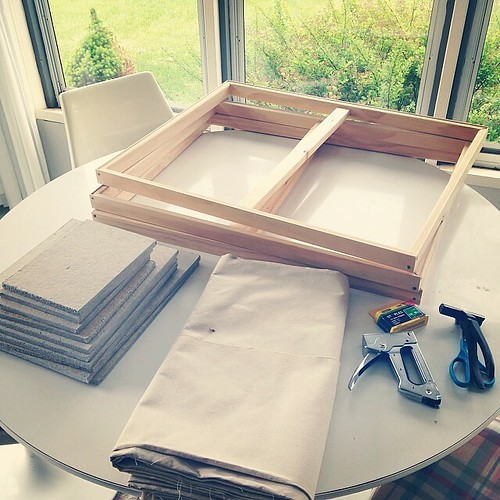 Today: cut a bunch of new homosote panels and stretching/ priming canvas.