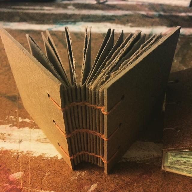 Miniature Coptic Bound Book 3 x 3 inches #bookbinding #bookarts #books #copticbinding #handmadebooks #handboundbooks