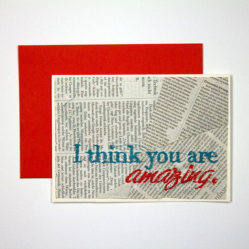 I Think You Are Amazing Stitched Card