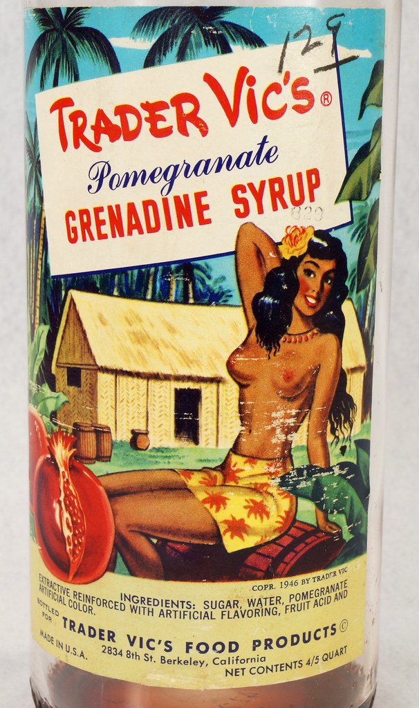 RD15320 Vintage Mid Century 1946 Bottle of Trader Vic's Pomegranate Grenadine Syrup with Topless Girl Tiki DSC09138