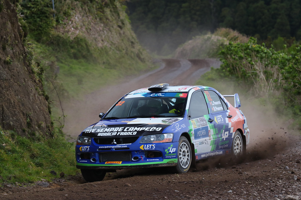 32 PIMENTEL Luis PIMENTEL Bruno Mitsubishi lancer EVO X Action during the 2017 European Rally Championship ERC Azores rally,  from March 30  to April 1, at Ponta Delgada Portugal - Photo Gregory Lenormand / DPPI