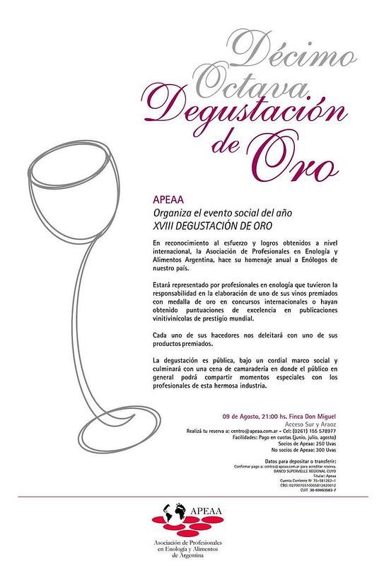 Mendoza: XVIII Degustación de Oro