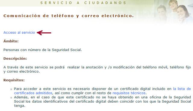 Acceso al servicio comunicar móvil y email