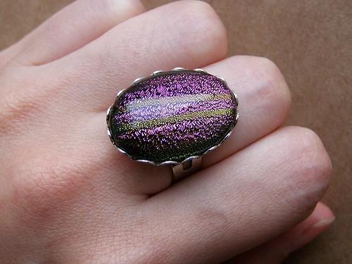 Ring - rainbow dreams. Dichroic glass.