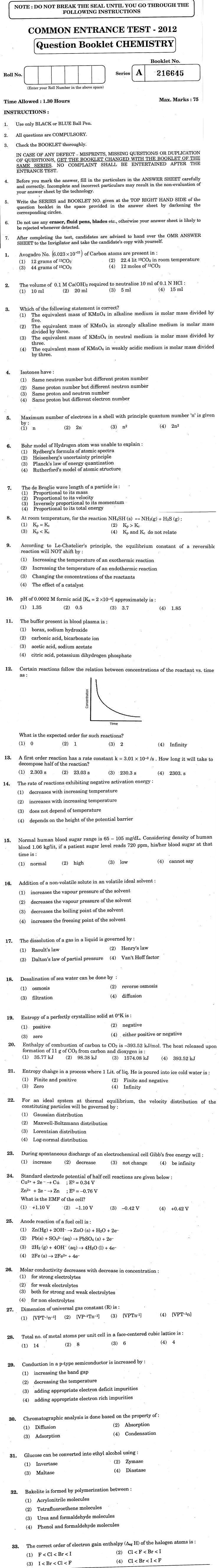 J&K CET 2012 Chemistry Question Paper