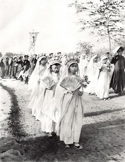 1920 - UNE PROCESSION A HANOÏ - Một đám rước ở Hanoi, có lẽ là đám rước dâng hoa ở nhà thờ.