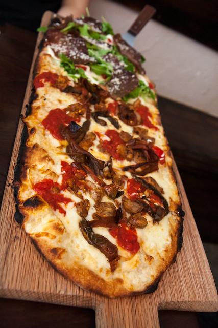 Pizza rustica + pizza delicata (peppers, sausage, bresaola, ricotta, cherry tomatoes), Numero 28