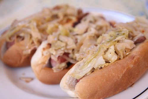 Smothered Cabbage Hot Dogs with Andouille