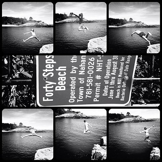 Image of  Forty Steps Beach. ocean summer vacation blackandwhite beach collage square ma fun jump jumping newengland squareformat nahant 40steps frametastic iphoneography hipstamatic ipdegirl instagramapp uploaded:by=instagram foursquare:venue=4bb8b1ccb35776b0151dc901