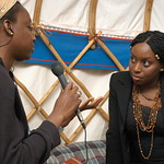 Chimamanda Ngozi Adichie being interviewed in the Authors Yurt |