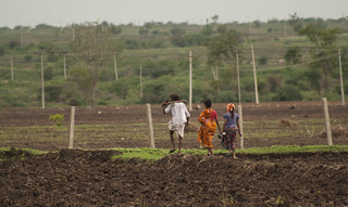 A farmer family returning back after a day's work