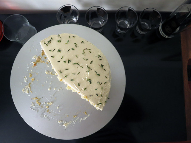 fig and thyme white cake with whipped honey frosting
