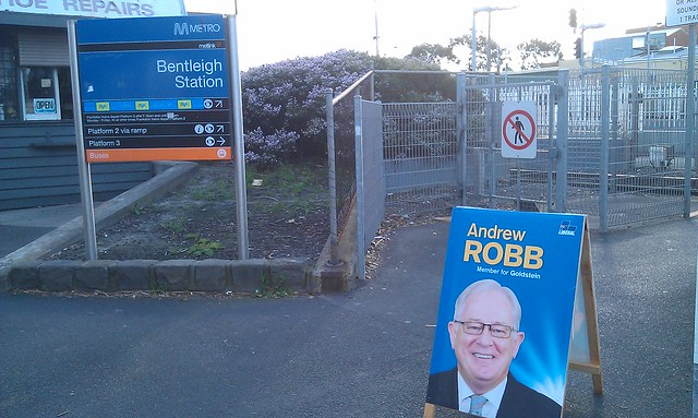 Signs are out, but no campaigners to ask why Andrew Robb's party refuses to fund urban public transport #AusVotes