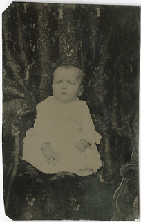 Baby with Hidden Mother Behind a Curtain - Tintype