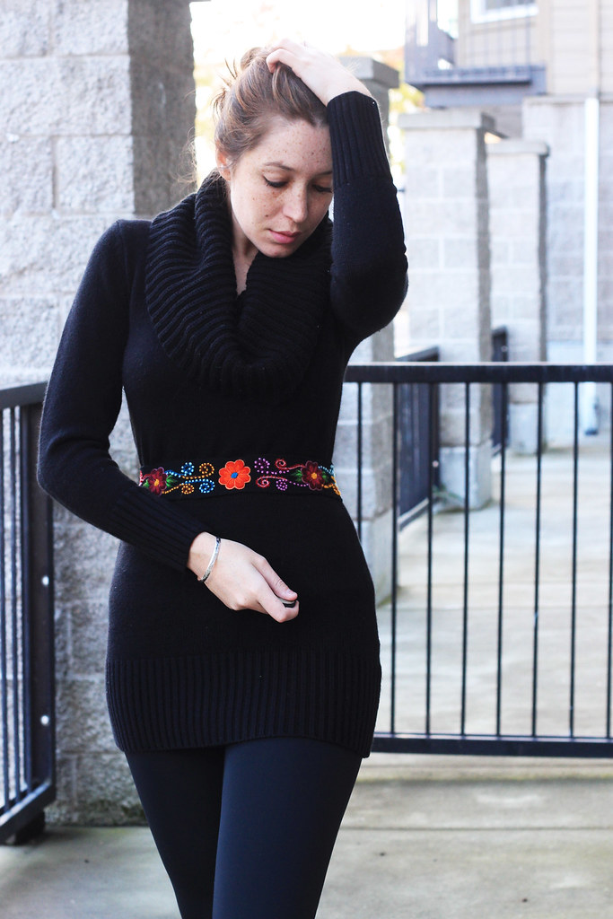 black sweater and belt