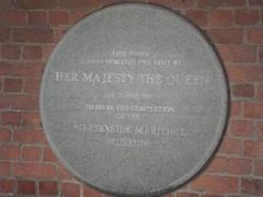 Photo of Elizabeth II and Merseyside Maritime Museum stone plaque