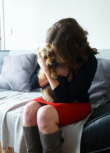 Gigi Griffis hugging Luna