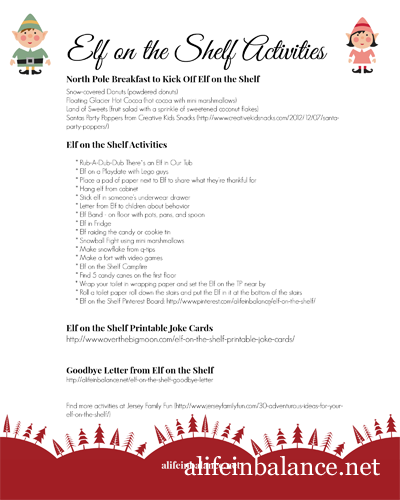 Elf on the Shelf Printable: Activities