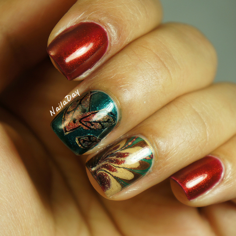 NailaDay: Adventures in Stamping Sunday Stamping: Thanksgiving nails with China Glaze Vintage Vixen polishes