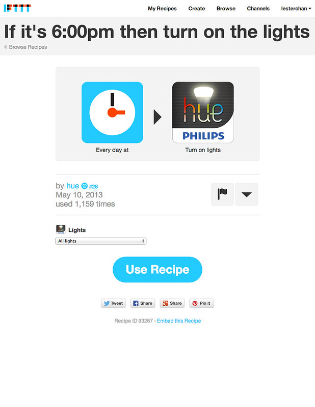 Philips hue - IFTTT Recipe Details