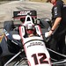 Juan Pablo Montoya settles into his car prior to testing at Sebring