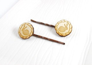Woodland Rabbit Wood Hairpins