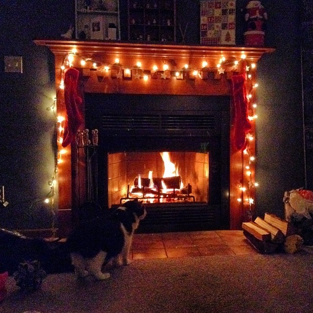 Our very first fire ever, in our #fireplace. Tonight we are decorating, listening to #Christmas music and even sipping holiday drinks.