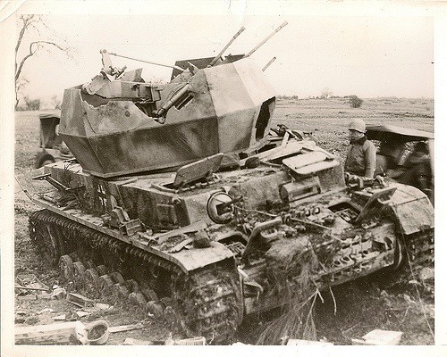 "Destroyed German Flakpanzer IV ""Wirbelwind"""