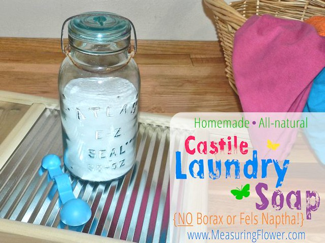 homemade all-natural castile laundry soap -- borax and fels naptha free