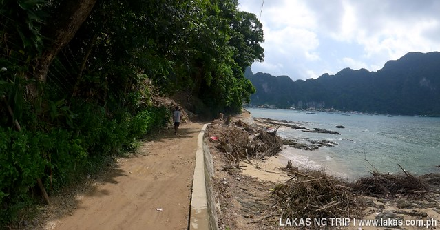 The view of the town of El Nido from the path from El Nido Corner - Malugao Beach in El Nido, Palawan, Philippines