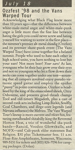 07/18/98 Ozzfest/ Vans Warped Tour @ Float-Rite Amphitheatre, Somerset, WI (City Pages A List)
