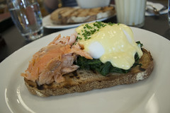 Salmon, Spinach, and Poached Eggs