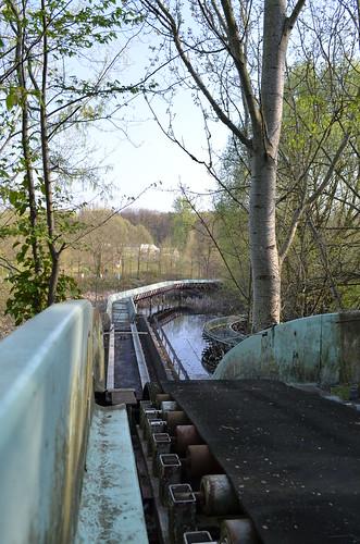 Spreepark Berlin Kulturpark Plaenterwald_abandoned amusement park_water ride track